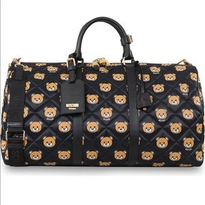 NWT Authentic Moschino Bear Quilted Weekend Bag